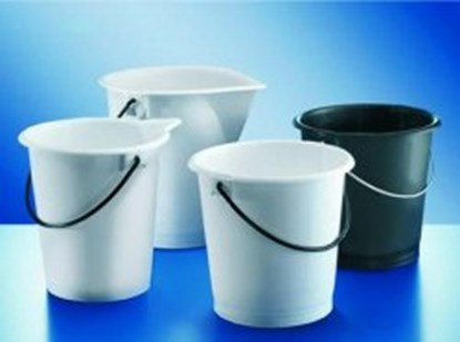 Slika za buckets,pe-hd,with handle,cap. 10 ltrs,w